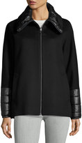 Cinzia Rocca Wool-Blend Coat w/ Puffer Trim, Black