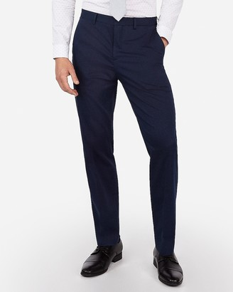 Express Classic Navy Cotton Blend Performance Stretch Suit Pant