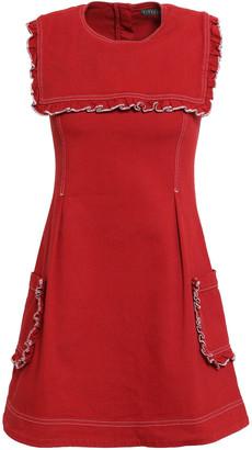 ALEXACHUNG Ruffled Denim Mini Dress