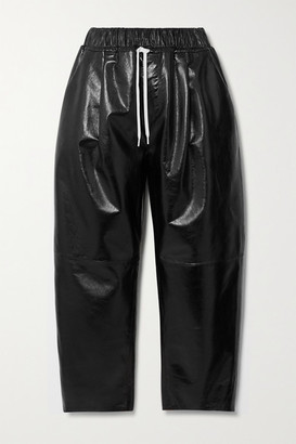 Givenchy Textured Patent-leather Wide-leg Pants - Black
