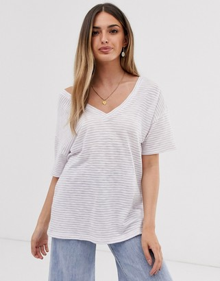 Asos Design DESIGN t-shirt with short sleeve in textured stripe with v front and back-Purple