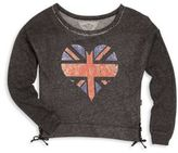 T2 Love Girl's Distressed Flag Heart Tee