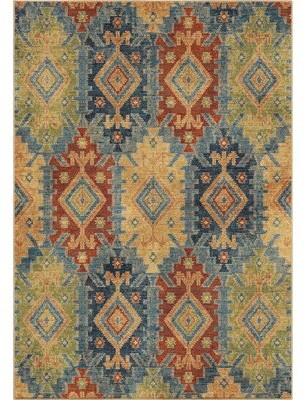 """Loon Peak Marvin Green/Blue/Red Area Rug Rug Size: Rectangle 5'3"""" x 7'6"""""""