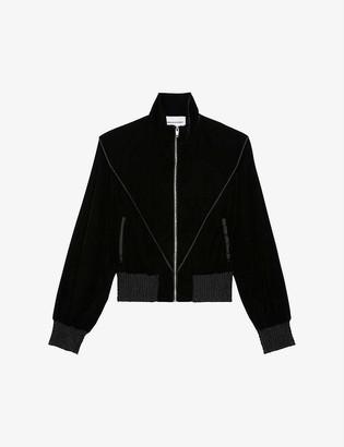 The Kooples Sport Satin and velvet cropped bomber jacket