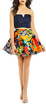 B. Darlin Strapless Lace Top to Floral Print Skirt Two-Piece Dress