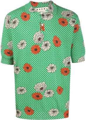 Marni Floral Print Polo Shirt
