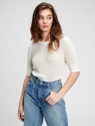 Gap Elbow Sleeve Pointelle Sweater