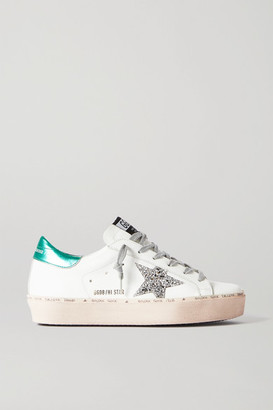 Golden Goose Hi Star Distressed Glittered Leather Sneakers
