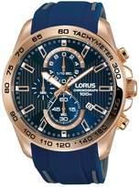 Lorus RM320D Men's Rose Gold-Blue Sport Chronograph Wrist Watch
