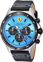 Ferrari Scuderia Men's 'PILOTA' Quartz Stainless Steel and Leather Casual Watch, Color:Black (Model: 0830388)