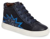 Steve Madden Girl's Jflash Glitter Star High Top Sneaker