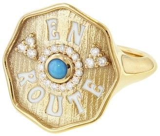 Marlo Laz Turquoise and White Enamel En Route Ring - Yellow Gold