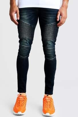 boohoo Super Skinny Zip Detail Biker Jeans