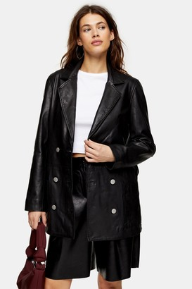 Topshop Black Leather Boyfriend Blazer