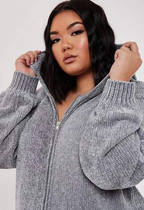 Missguided Plus Size Gray Co Ord Chenille Zip Hoodie