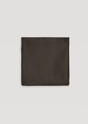 Emporio Armani Pocket Square In Pure Silk With Geometric Motif