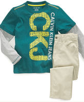 Calvin Klein Jeans Set, Little Boys CKJ Tee and Twill Pants Set