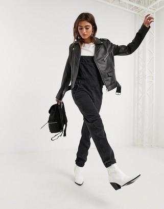 Barneys New York buckle belt leather jacket in black