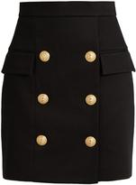 Balmain Six-button piqué mini skirt