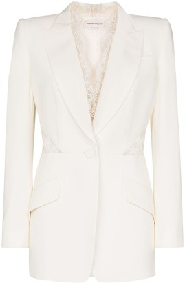 Alexander McQueen Lace Insert Single-Breasted Blazer