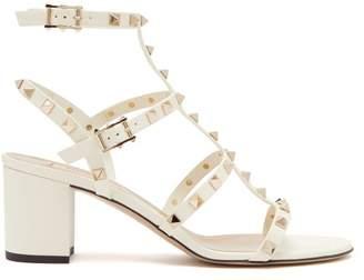 Valentino Rockstud Block Heel Leather Sandals - Womens - Cream