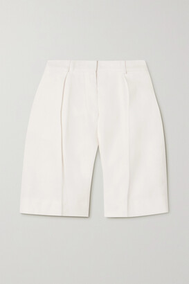 Victoria, Victoria Beckham - Pleated Woven Shorts - Cream