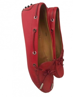 Tod's Red Leather Flats