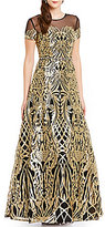 Terani Couture Gold Embroidered Short Sleeve Ball Gown