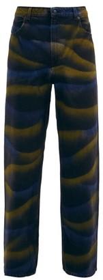 Eckhaus Latta Atmospheric Hand-dyed Wide-leg Jeans - Black Multi