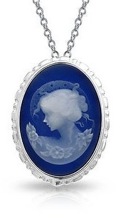 Bling Jewelry Victorian Style Women Portrait Blue White Oval Carved Cameo Brooch Pin
