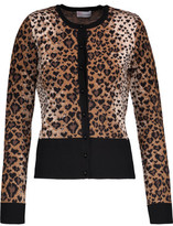 RED Valentino Leopard-Print Wool-Blend Cardigan