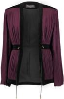 Balmain Velvet-trimmed plissé-satin jacket