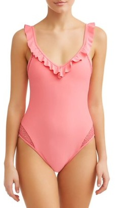 No Boundaries Juniors' Solid Ruffle One Piece Swimsuit