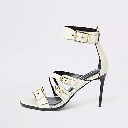 River Island White leather buckle heeled sandal