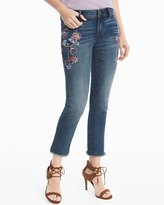 White House Black Market Floral Embroidered Straight Crop Jeans