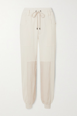 Tom Ford Paneled Silk And Cotton-blend Jersey Track Pants - White