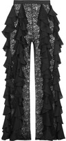 Balmain Silk-ruffled Lace Wide-leg Pants - Black