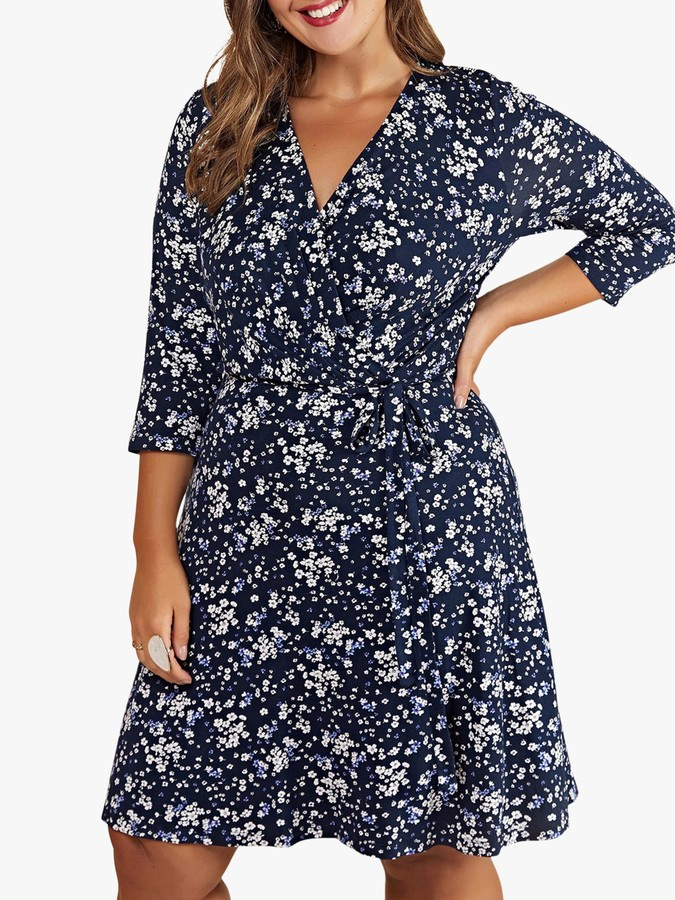 Yumi Curves Ditsy Floral Wrap Dress, Navy