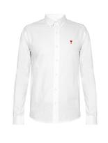 Ami Striped single-cuff cotton shirt