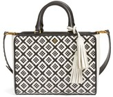 Tory Burch Small Robinson Woven Leather Tote - Black