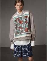 Burberry Beasts Print Silk Panel Jersey Sweatshirt