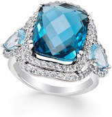 Macy's Blue Topaz (13 ct. t.w.) and Diamond (1-1/10 ct. t.w.) Ring in 14k White Gold