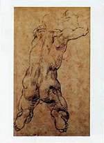 Michelangelo 1art1 Posters Buonarroti Poster Art Print - Nudo Virile Inginocchiato (20 x 14 inches)