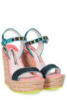 Sophia Webster Lucita Stripe Leather-trimmed Canvas Espadrille Wedge Sandal