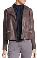 Eleventy Leather Quilted Sleeve Jacket