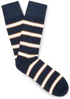 Corgi Striped Cotton-blend Socks - Navy