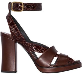 Chloé Brown Croc Strappy Sandals