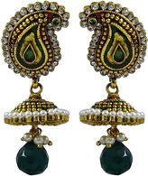 Matra Indian Women Goldtone CZ Stone Jhumka Earring Set Traditional Wedding Jewelry