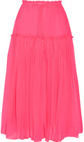 Apiece Apart Dulce Pleated Silk-crepon Midi Skirt - Bright pink
