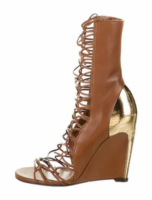 Sergio Rossi Scarpe Donna Sandal Boot Leather Lace-Up Boots w/ Tags Brown